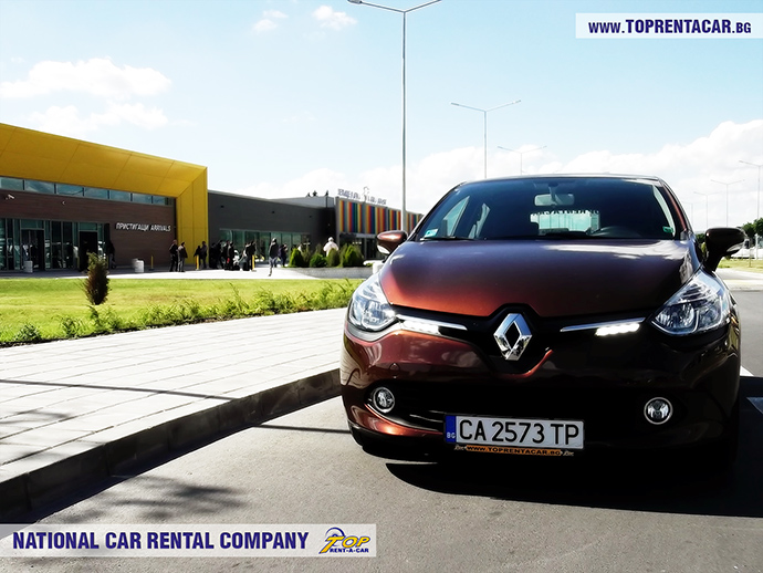 Renault Clio from Top Rent A Car in front of Varna Airport