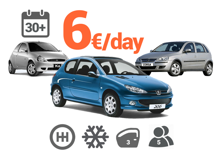 Manual cars from 6 euro per day for a period of 30 + days