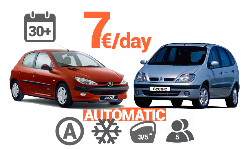 Automatic cars from 7 euro per day for a period of 30 + days